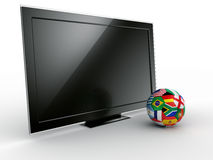 TV with soccerball Royalty Free Stock Photos