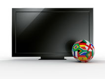 TV with soccerball Stock Photography