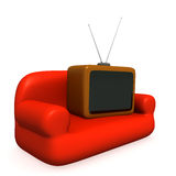 TV on a sofa stock photos