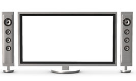 TV and speakers. A widescreen television and speakers Royalty Free Stock Photography