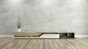 Tv stand with concrete wall 3d design rendering. Tv stand with concrete wall and wooden parquet background for design stock illustration