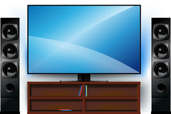 TV on a stand and home theater Royalty Free Stock Photos