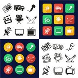 TV Station All in One Icons Black & White Color Flat Design Freehand Set. This image is a vector illustration and can be scaled to any size without loss of Royalty Free Stock Image
