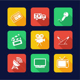 TV Station Icons Flat Design Stock Photography
