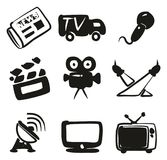TV Station Icons Freehand Fill. This image is a vector illustration and can be scaled to any size without loss of resolution Stock Photography