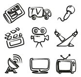 TV Station Icons Freehand. This image is a vector illustration and can be scaled to any size without loss of resolution Royalty Free Stock Photos