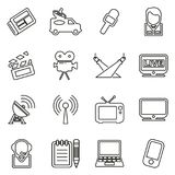 TV Station Icons Thin Line Vector Illustration Set. This image is a vector illustration and can be scaled to any size without loss of resolution Royalty Free Stock Photography