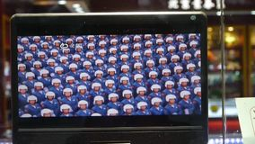 TV in store showcase,China Parade video program. This is TV in store showcase,China Parade video program stock footage