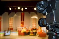 TV Studio. Production TV broadcasts in the studio with guests Stock Image
