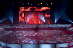TV Studio. Stage lights - Studio prepared for production and shooting TV show stock image