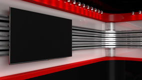 Tv Studio. Backdrop for TV shows .TV on wall. News studio. The p Royalty Free Stock Photo