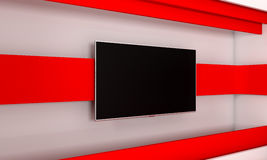 Tv Studio. Backdrop for TV shows .TV on wall. News studio. The perfect backdrop for any green screen or chroma key video or photo. Production. 3d render Stock Photo