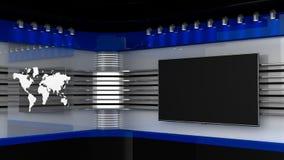 TV-studio Blauwe studio De achtergrond voor TV toont TV op muur Royalty-vrije Stock Afbeelding