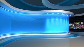 Tv studio. Blue studio. News studio. Control room. 3D rendering