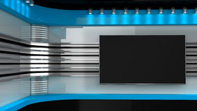 Tv Studio. Blue studio. Backdrop for TV shows .TV on wall. News s. Tudio. The perfect backdrop for any green screen or chroma key video or photo production. 3D Stock Photo