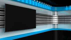 Tv Studio. Blue studio. Backdrop for TV shows .TV on wall. News s Royalty Free Stock Images