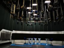 TV studio - interior decoration and lights. Modern lighting technology and decors. The projectors are now extinguished stock photo
