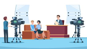 Tv studio interview. Talk show in broadcasting studio on television. Talking people with microphone to camera. News crew. Vector image. Tv studio, show live royalty free illustration
