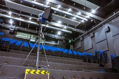 TV Studio Learning Auditorium Practice Rows Seats Education Vide. O Film Production Lesson Nobody Empty Lecture Hall Stock Photo