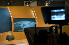 TV studio and lights. TV news studio for broadcast production stock photo