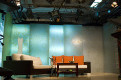 TV studio and lights. Studio is prepared for the production and shooting stock photography