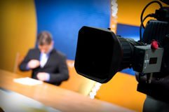 TV studio for news Stock Photo