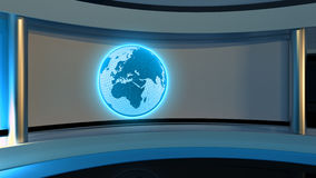 Tv Studio. News studio. Blue studio. The perfect backdrop. For any green screen or chroma key video or photo production. 3D rendering Royalty Free Stock Photo