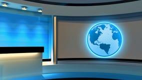 Tv Studio. News studio. Blue studio. The perfect backdrop for an Stock Photography