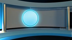 Tv Studio. News studio. News room. Breaking News.3D rendering. stock footage