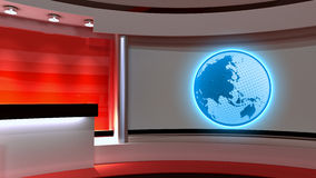 Tv Studio. News studio. Red studio. The perfect backdrop for any Stock Photography