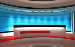 Tv Studio. News studio, Studio set. Tv Studio set. The perfect backdrop for any green screen or chroma key video or photo production. 3d render. 3d visualisation Royalty Free Stock Photography