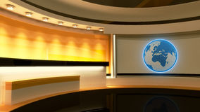 Tv Studio. News studio. Yellow studio. Globe. Tv Studio. News studio. Yellow studio. The perfect backdrop for any green screen or chroma key video or photo Stock Image