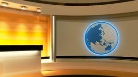 Tv Studio. News studio. Yellow studio. Globe. Tv Studio. News studio. Yellow studio. The perfect backdrop for any green screen or chroma key video or photo Stock Photos