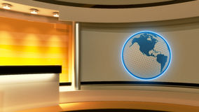 Tv Studio. News studio. Yellow studio. Globe. Tv Studio. News studio. Yellow studio. The perfect backdrop for any green screen or chroma key video or photo Royalty Free Stock Photo