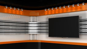 Tv Studio. Orange studio. Backdrop for TV shows .TV on wall.. News studio. The perfect backdrop for any green screen or chroma key video or photo production. 3D Stock Photo