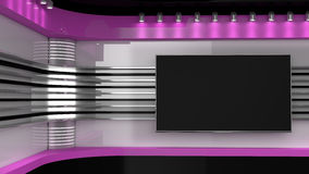 Tv Studio. Pink studio. Backdrop for TV shows . News room. Tv Studio. Pink  studio. Backdrop for TV shows .TV on wall. News studio. The perfect backdrop for any Stock Image