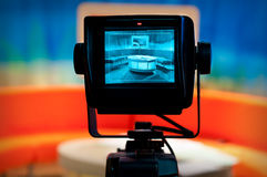 TV studio - Video camera viewfinder. Video camera viewfinder - recording show in TV studio - focus on camera royalty free stock image