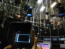 TV studio - video camera viewfinder. Recording TV show  in studio, focus on side camera stock photography