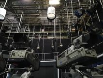 TV studio - video cameras and lights on the grid stock image