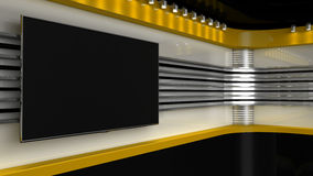 Tv Studio. Yellow studio. Backdrop for TV shows .TV on wall.. News studio. The perfect backdrop for any green screen or chroma key video or photo production. 3D Stock Photography