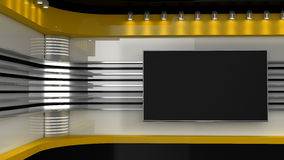 Tv Studio. Yellow studio. Backdrop for TV shows .TV on wall.  Royalty Free Stock Photo