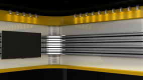 Tv Studio. Yellow studio. Backdrop for TV shows .TV on wall.. News studio. The perfect backdrop for any green screen or chroma key video or photo production. 3D Royalty Free Stock Images