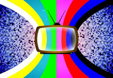 TV with stylized color table Royalty Free Stock Image