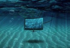 TV subacquea con la scuola del pesce illustrazione vettoriale