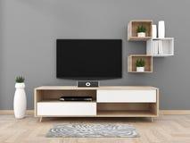 TV sul gabinetto in salone moderno sul fondo grigio della parete, rappresentazione 3d illustrazione di stock