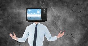 TV sur la tête du ` s d'homme d'affaires Image libre de droits
