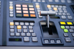 TV SWITCHER FADER BAR. Closeup of fader bar on broadcast switcher Royalty Free Stock Image