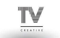 TV T V Black and White Lines Letter Logo Design. Royalty Free Stock Photo