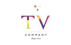 tv t v creative rainbow colors alphabet letter logo icon stock illustration