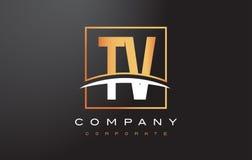 TV T V Gouden Brief Logo Design met Gouden Vierkant en Swoosh Stock Foto's